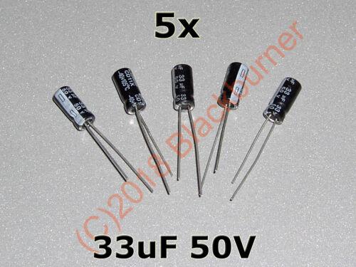20Stck 33uF 50V Elko DIP Kondensator Capacitor 5x11mm 10 5