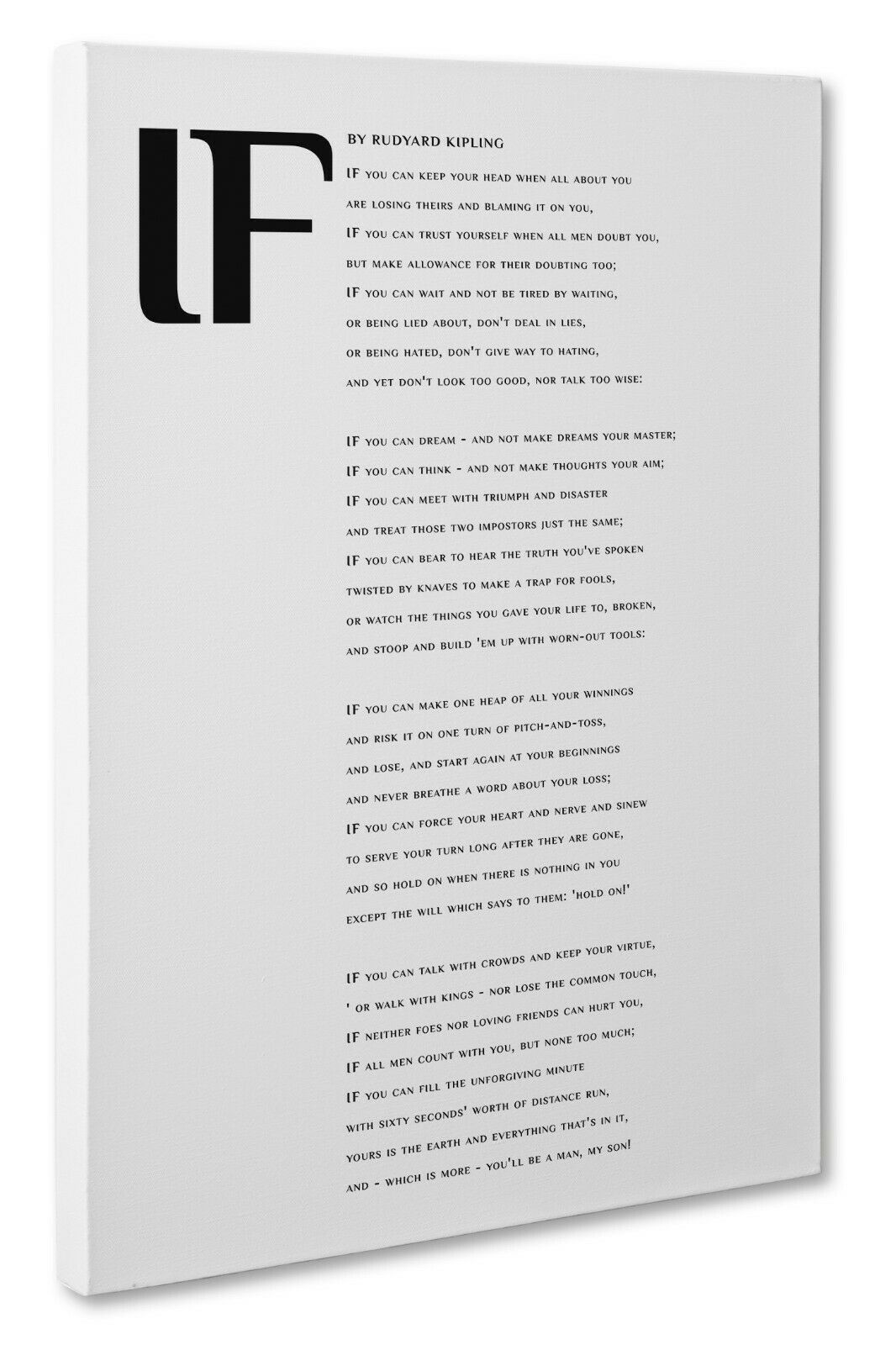 Details About If Poem By Rudyard Kipling Typography Canvas Picture Print Size A3 30x41cm