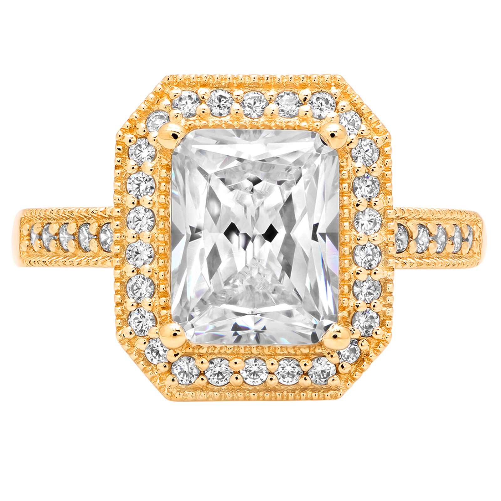 2.74ct Emerald Anniversary Engagement Bridal Halo Solitaire Ring 14k Yellow gold