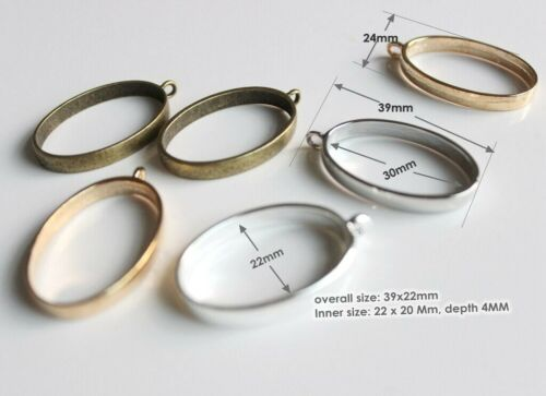 oval open Back Bezel setting 22 x 30 MM Metal Charms Backless Resin jewelry diy
