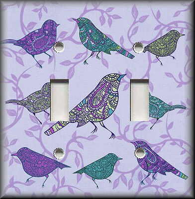 Metal Light Switch Plate Cover - Decorative Birds Purple Home Decor Birds Decor