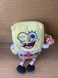 """Ty Beanie Baby SPONGEBOB THUMBSUP Approximately 8"""" With Tag"""