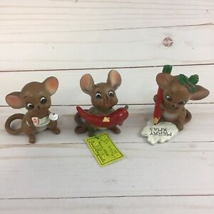 Vtg-Josef-Originals-Mice-Figurines-Lot-of-3-Japan-Xmas-Chili-Teacher-Flaw