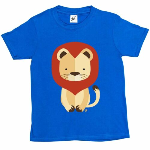Girls T-Shirt Geometric King Of The Jungle Lion With Mane Kids Boys