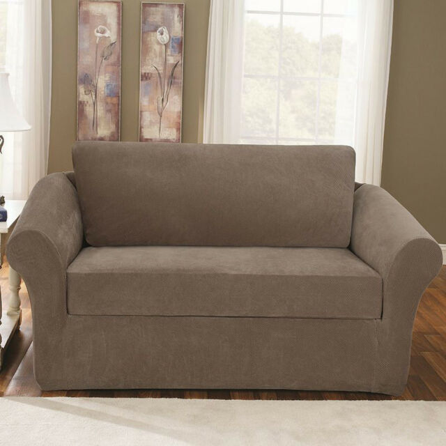 Sure Fit Stretch Sterling 3-Piece Sofa Slipcover Taupe