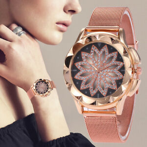 Damen-Mode-Blume-Rose-Gold-Strass-Uhren-Quarzuhr-Armbanduhr-HL