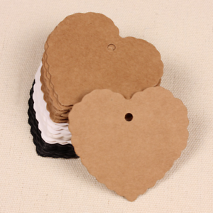"""50 pcs Lace Heart Shaped Paper Hang Tags Wedding Party Gift Cards Labels 2.3/"""""""