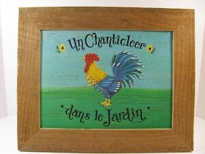 Details about Rooster Picture by Julie Huber Un Chanticleer dans le Jardin  Rustic Home Decor