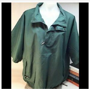 Tres-bien-short-sleeve-sporty-wind-breaker-golf-club-green-jacket-zip-neck