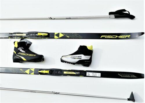 Kinder Langlaufski Set No Wax Fischer Sprint Crown Bindung Schuhe Stöcke  2020 I