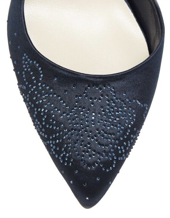 No. 1 Jenny Packham Navy 'Penny' Diamante Satin Court Schuhes - UK 5 - BNIB