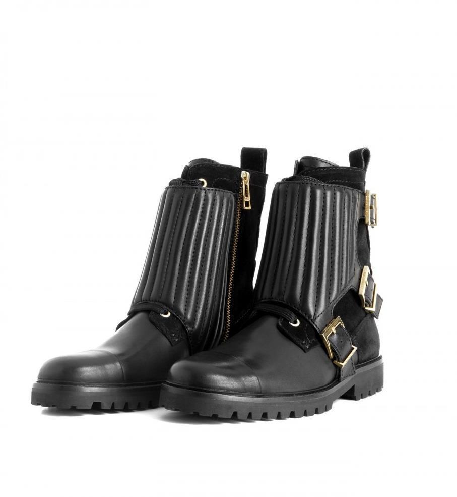 Zadig Zag & Voltaire Cuero Negro bajo Zag Zadig Motero Lujo Dorado Moto botas 38 Nuevo 6ad829