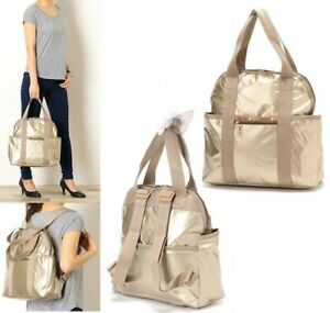 LeSportsac-Japan-Exclusive-2Way-Backpack-Champagne-Gold-Glitter-From-Japan-EMS