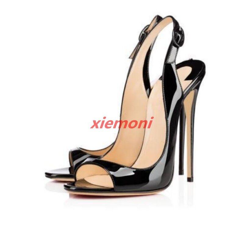 Vogue Femme Talon Haut Cuir Verni Bout Ouvert Talons Aiguilles Escarpins Sandale chaussures