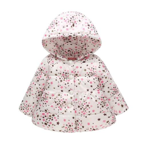 Cute Girls Down Jackets Kids Printed Thick Outerwear Winter Clothes Hooded Coats