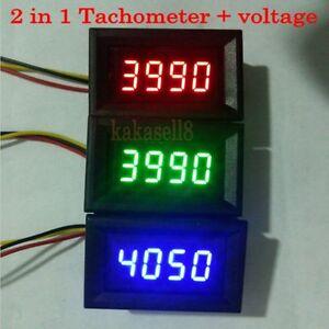 led 2 in 1 tachometer gauge digital rpm meter voltmeter. Black Bedroom Furniture Sets. Home Design Ideas