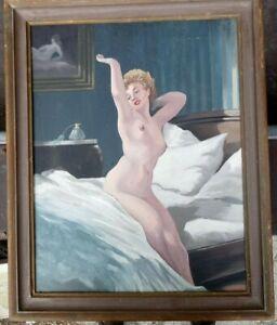 sitzend-im-Bett-Akt-Ol-auf-Platte-um-1970