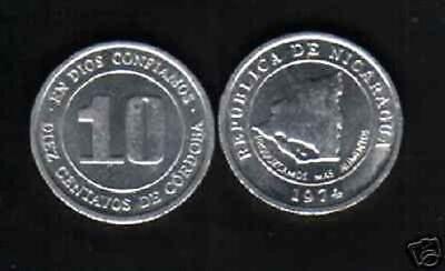 NICARAGUA 10 CENTAVOS KM29 1974 FAO MAP UNC COIN LOT X 100 PCS MONEY LATINO