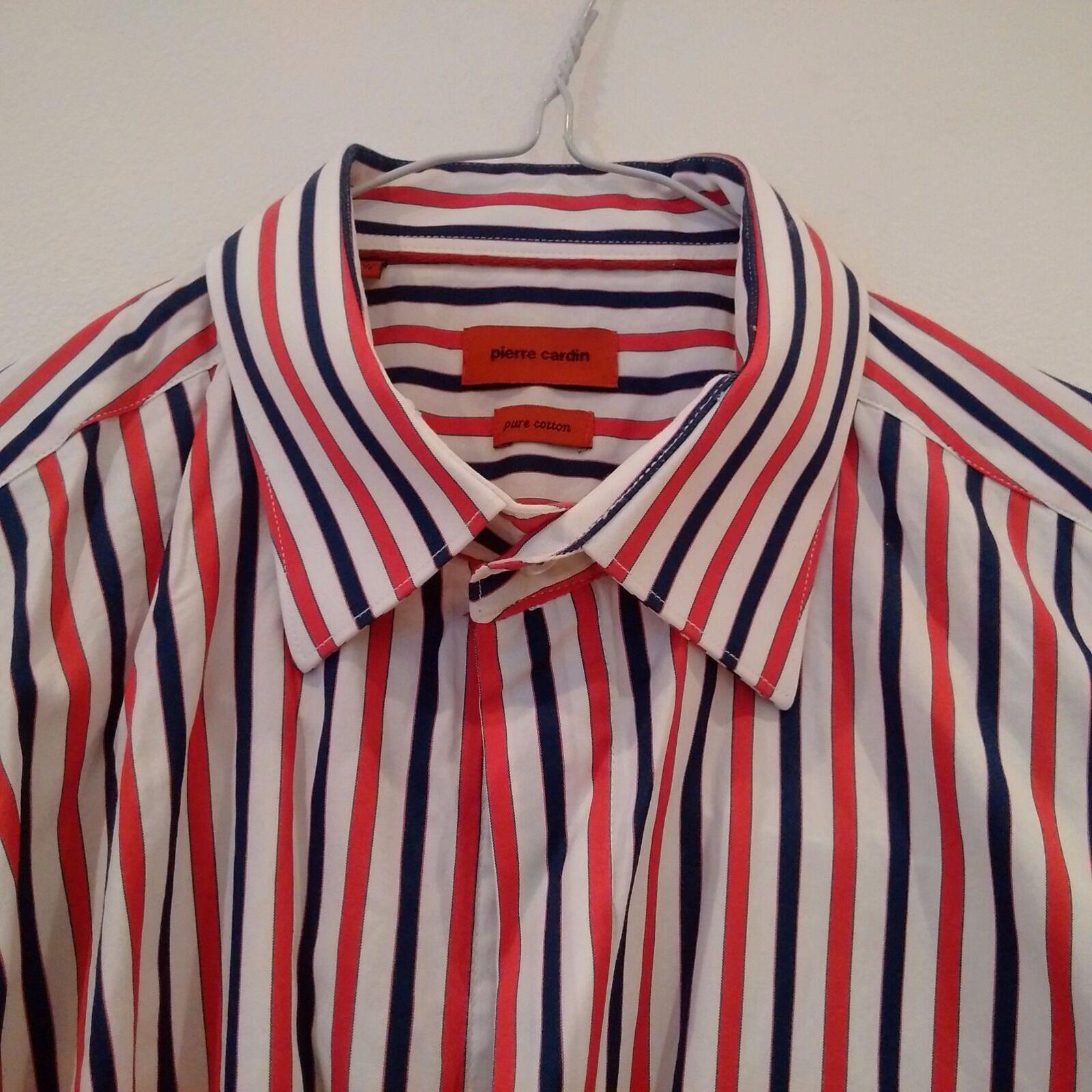 PIERRE CARDIN Mens Red Navy White Striped Short Sleeve Shirt 16.5