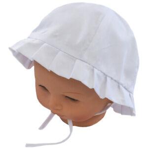 Contemplatif Bonnet Chapeau De Soleil Ete Naissance Bebe / Enfant Garcon Fille Blanc