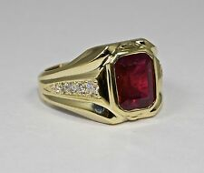 Mens 14k Yellow Gold Emerald Cut Red Ruby And White Round Diamond Ring Size 9.25