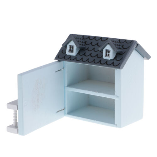 Miniature Blue Wood House Model 1:12 Scale Dollhouse Garden Hut Furniture