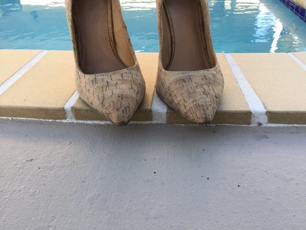 L.A.M.B. Gwen Stefani Jocelyn CORK PRINT HOT PINK HEEL DETAIL PUMPS Sz 9M