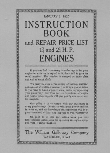 Instruction Book and Parts List Galloway 1¾ and 2¼ H.P