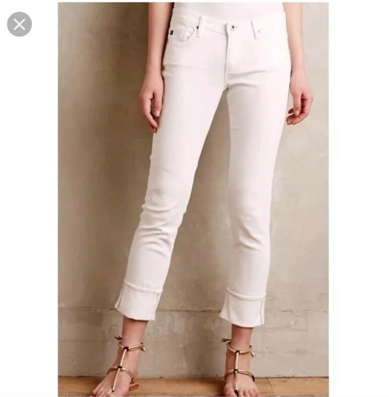 AG jeans women 25 white STEVIE CUFF slim straight Adriano goldschmied