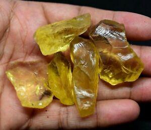 315-0-Ct-Natural-Lemon-Citrine-Untreated-5-Pcs-Transparent-Specimen-FACET-Rough