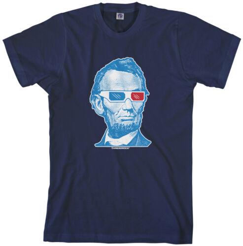 Threadrock Men/'s Abraham Lincoln 3D Glasses T-shirt Honest Abe USA