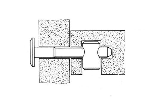 M6 x 20 mm mobili Cross tecnica tassello Barile Dadi centro thread di fissaggio per lettino Unità