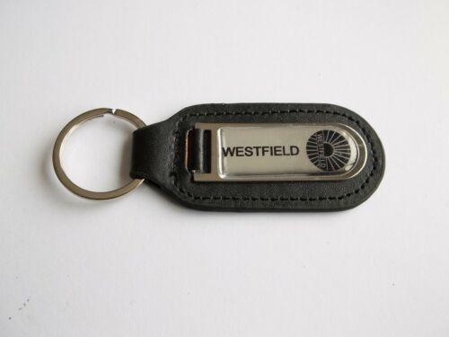 Westfield Genuine Leather Keyring Keyfob Black on Chrome PDQ Motorsport