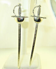 """New  Very Large  Fencing  Saber  SWORD  Silver-tone Dangle Earrings  4-1/8"""" long"""