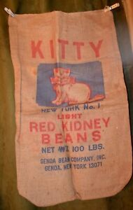 Vintage-Advertising-100-Burlap-Bag-KITTY-Red-Kidney-Beans-Genoa-NY-Used