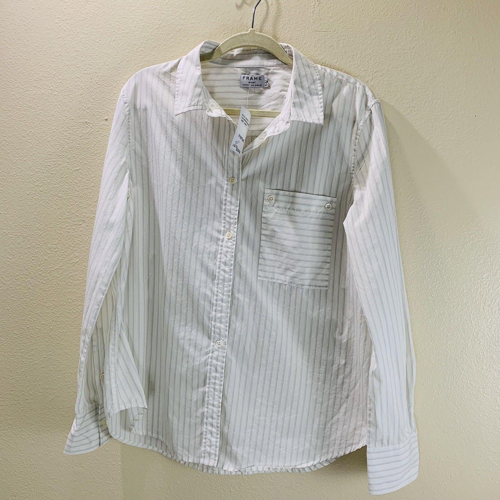 Frame denim woman boyfriend poplin button down collar shirt double stripe NWT