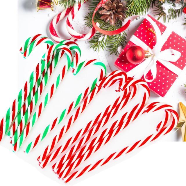 10x Christmas Acrylic 12cm Candy Cane Xmas Tree Hanging Decoration Ornaments