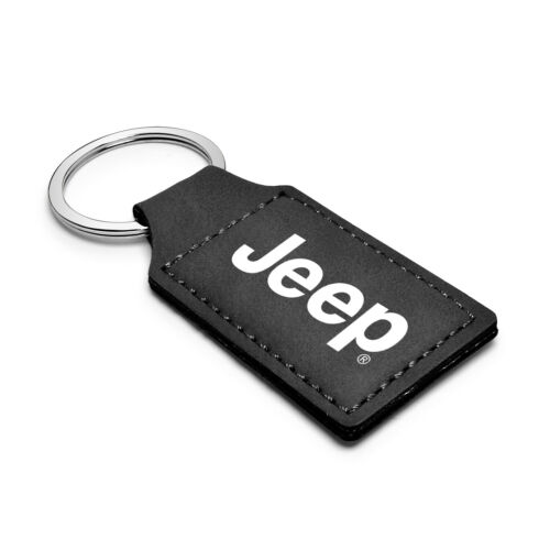 Jeep Rectangular Black Leather Key Chain Key-Ring