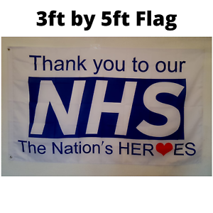 THANK YOU NHS TO OUR NATION/'S HERO FLAG 5ft BY 3ft Premium Quality RED HEART