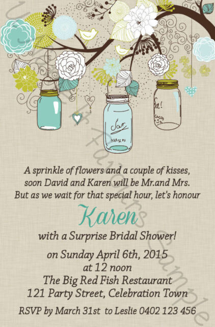 BRIDAL SHOWER - MODERN MASON JAR TREE INVITATIONS (can be done for any event)