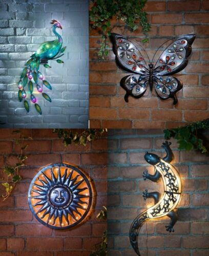 Solar Power LED Light Garden Home Wall Art Patio Plaque Weatherproof Decoration