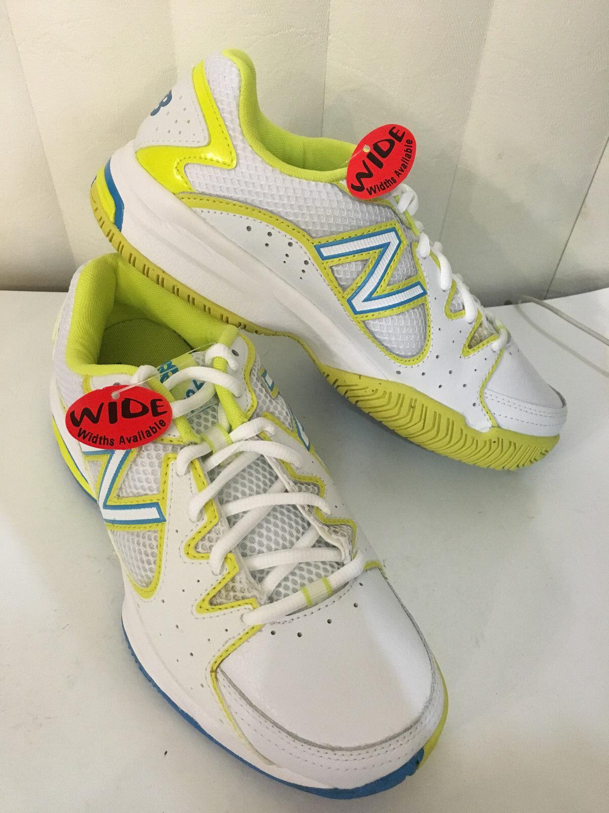 New Balance WC786YB Wouomo Tennis bianca giallo blu scarpe Dimensione 7, 8.5 D (Wide)