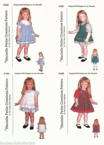 For Patti Playpal Four Dress Patterns Set C