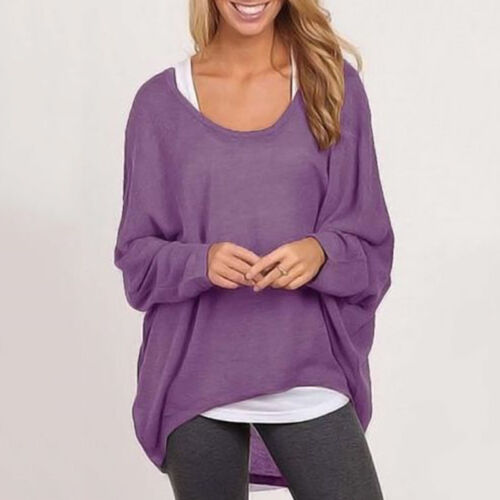 Plus Size Women Long Sleeve Pullover T-shirt Loose Baggy Casual Top Sweatshirt