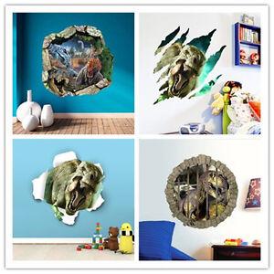 3D dinosaurs Vinyl jurassic park Wall Decal Stickers Kids Room art ... 6970161197d7