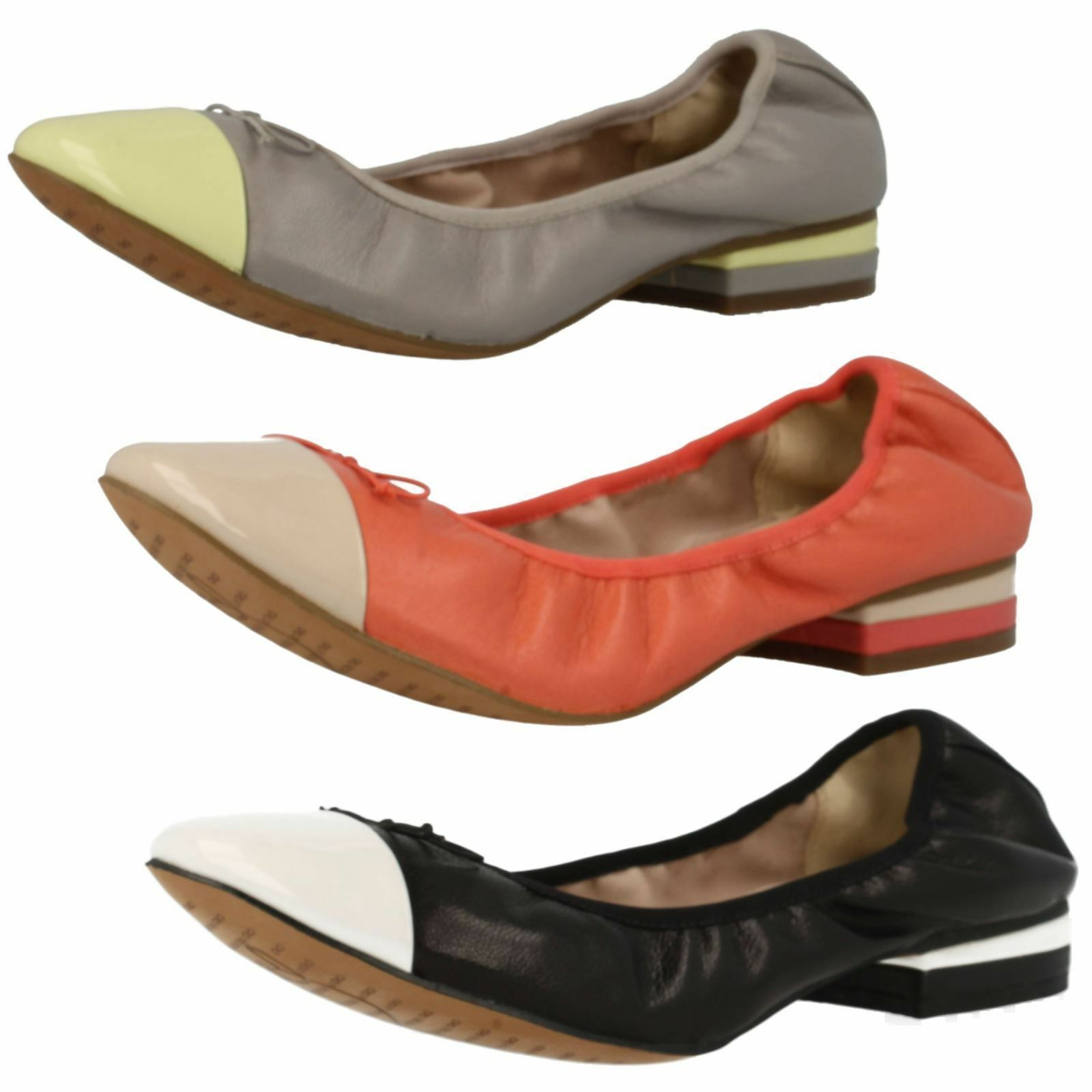 Femmes SOLDE CLARKS fou Robe à enfiler cuir chaussures style ballerine