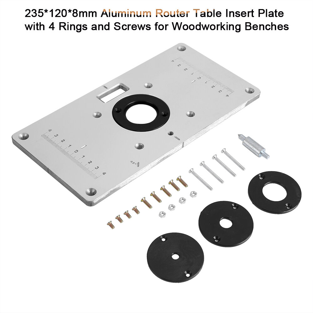 Aluminum router table insert plate w 4 rings screws for woodworking resntentobalflowflowcomponentncel keyboard keysfo Gallery