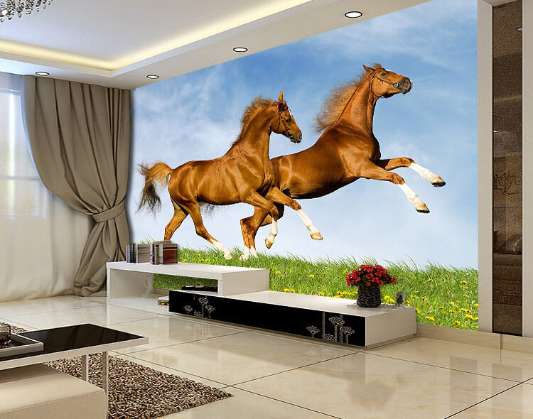 Two Running Brown Horse Full Wall Mural Photo Wallpaper Print Kids Home 3D Decal