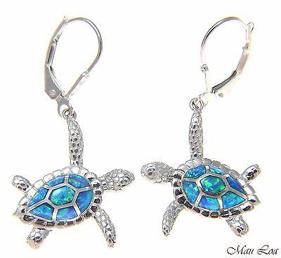 925 Sterling Silver Rhodium Hawaiian Honu Turtle White Opal Leverback Earrings