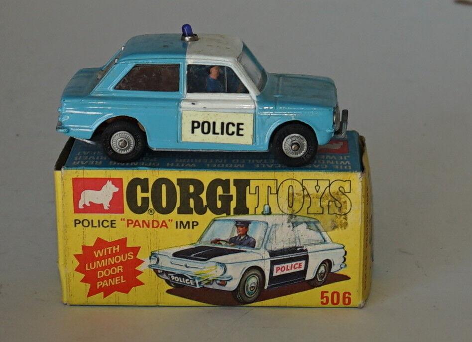 Corgi 506 polizei panda - blau & weiß leuchtende türkontrolle nr - boxen